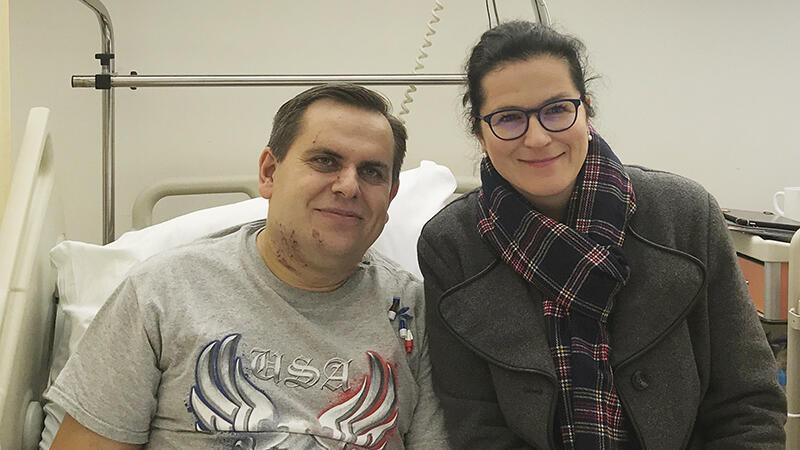 Prezydent Aleksandra Dulkiewicz odwiedziła w szpitalu pana Piotra, motorniczego, który ucierpiał w zeszłotygodniowym wypadku