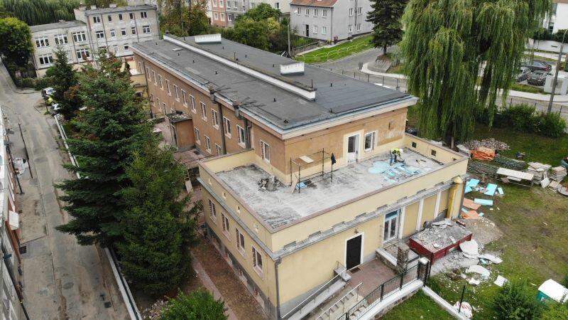 Prace termomodernizacyjne w Żłobku nr 1 przy ul. Malczewskiego, stan na koniec września 2019 r. inwestycja będzie gotowa w lutym przyszłego roku