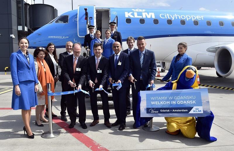 Pierwszy samolot KLM przyleciał z Amsterdamu do Gdańska 15 maja 2017 r.