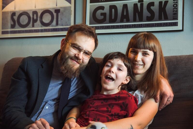 Tomasz, Borys i Katarzyna Grybkowie. Jubilat ma 10 i zarazem 4 lata