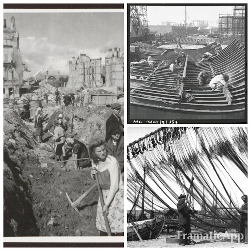 Po lewej: ul. Elżbietańska w 1946 roku, u góry: pracownicy Stoczni Gdańskiej w 1979 roku, na dole: sieci do połowów łososi suszące się na wietrze na wybrzeżu Półwyspu