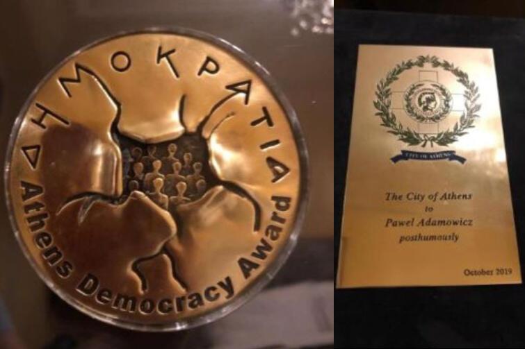 Medal Ateńskiego Forum Demokratycznego i pamiątkowy laur od Miasta Ateny - dla śp. prezydenta Pawła Adamowicza za wkład w obronę demokracji