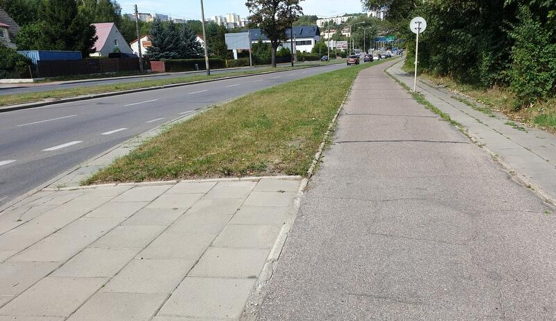 Droga rowerowa wzdłuż ul. Potokowej w Gdańsku, stan przed planowaną inwestycją