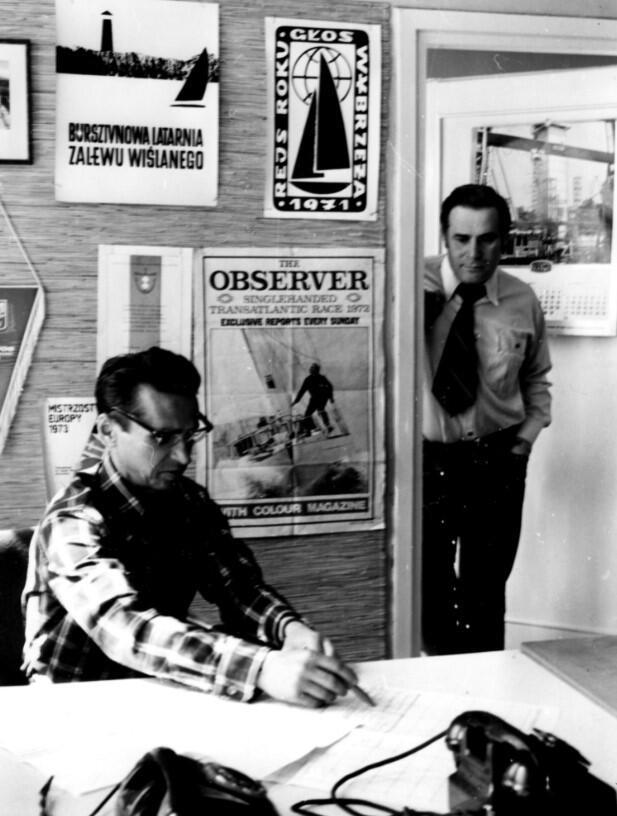 W redakcji 'Głosu Wybrzeża', w połowie lat siedemdziesiątych. W drzwiach stoi Kazimierz Kołodziej