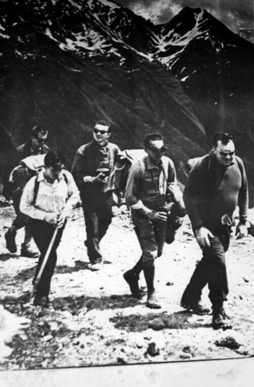 Wyprawa na Elbrus, koniec lat '60. Tadeusz Jabłoński - drugi od prawej