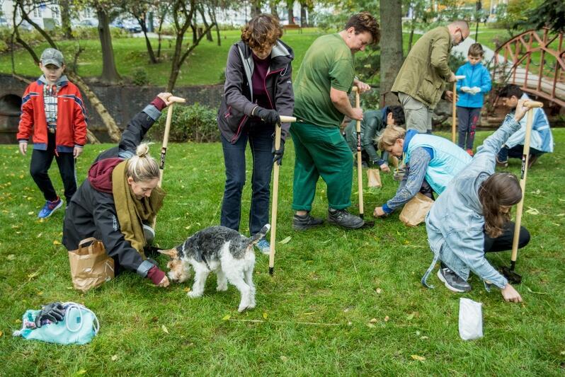 We wspólnym ukwiecaniu Gdańska pomagał nawet... pies:)