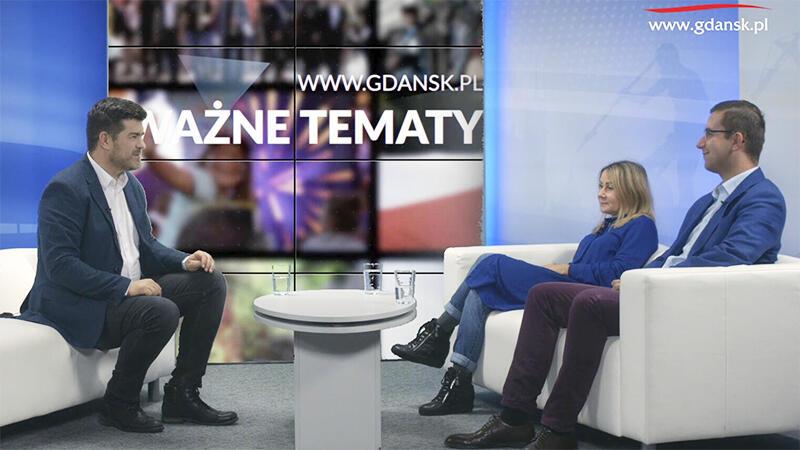 Radna Beata Dunajewska i radny Cezary Śpiewak-Dowbor w studio portalu Gdańsk.pl
