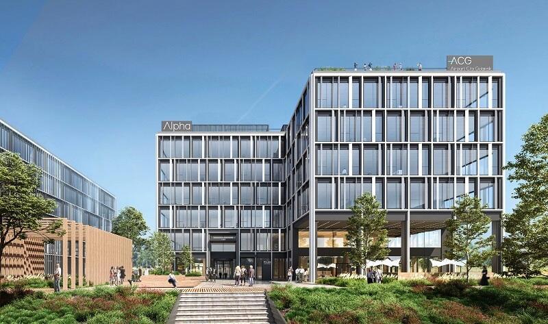 Wizualizacja budynku Alpha - pierwszego budowanego w ramach kompleksu Airport City Gdańsk