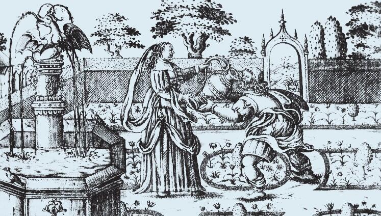 Scena w ogrodzie kwiatowym, miedzioryt Johanna Sylviusa, ilustracja z gdańskiego druku weselnego z 1645 roku