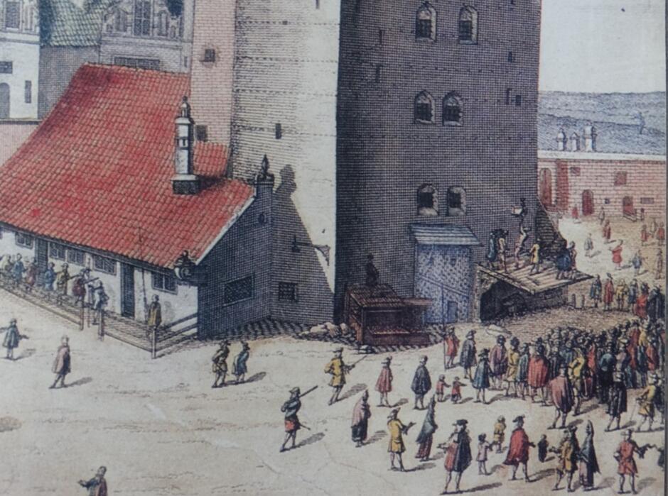 Scena wymierzania kary przed Katownią. W tym więzieniu przetrzymywano i torturowano również osoby podejrzane o czary; rycina P. Willera