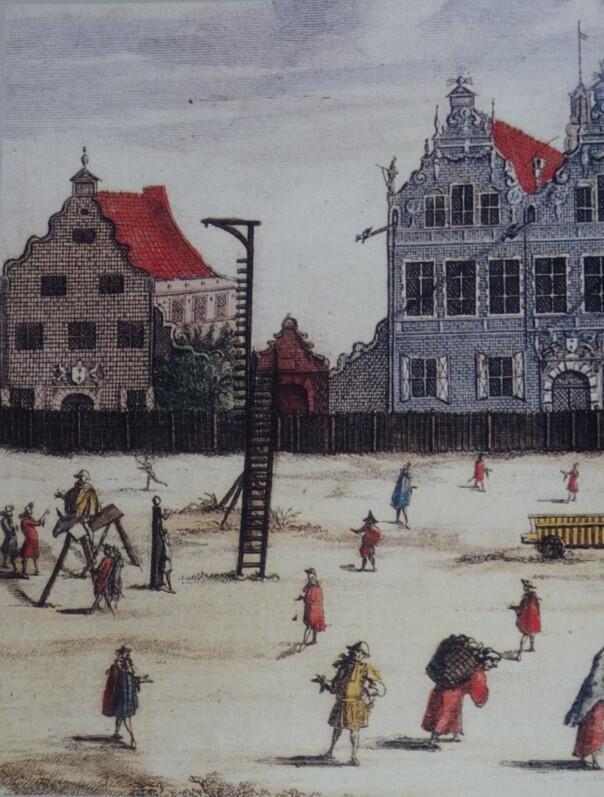 Targ Węglowy był jednym z miejsc wykonywania egzekucji. W czasach, gdy powstawała rycina Willera (koniec XVII wieku) ta szubienica nie była już używana, pozostała na placu jako przestroga