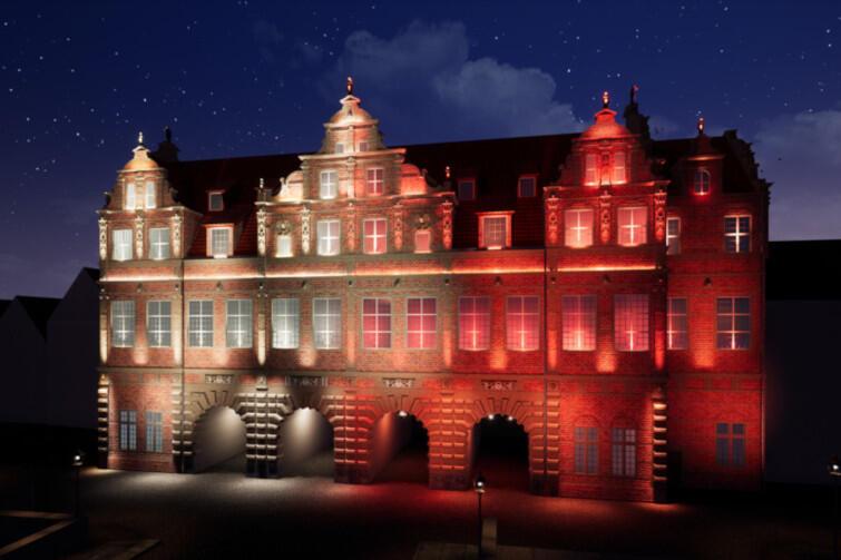 Iluminacja na Zielonej Bramie - tak prezentować się będzie oddział Muzeum Gdańska już 10 listopada