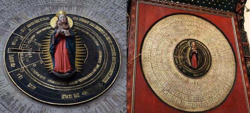 Odnowiony zegar astronomiczny po prawej, po lewej przed rozpoczęciem prac