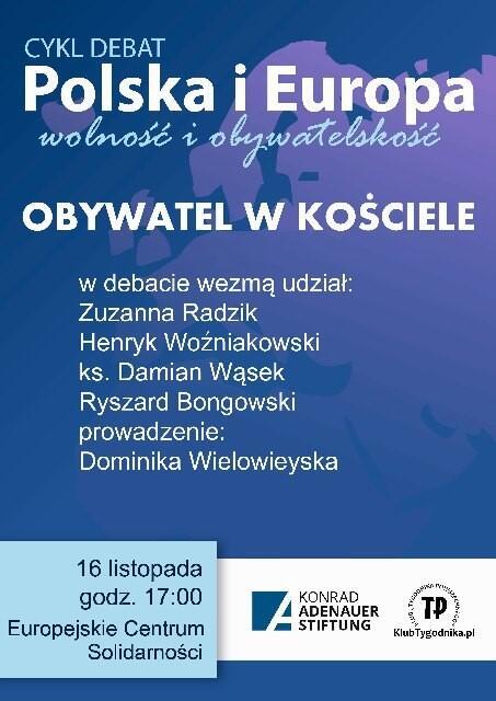 Plakat zapowiadający sobotnią debatę