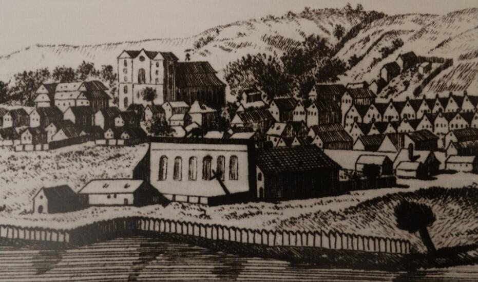 Kościół i kolegium jezuickie, fragment rycina M. Deischa, 1765