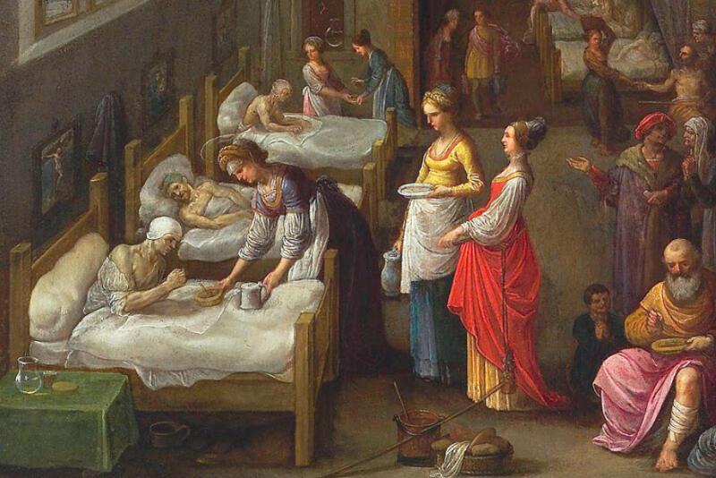 Na wystawie znajdzie się około 50 oryginalnych eksponatów oraz ryciny, grafik i XIX-wiecznych zdjęć ukazujących zwykły dzień grup społecznych korzystających ze szpitali gdańskich. Nz. fragment obrazu Adama Elsheimera z 1598 r., przedstawiający św. Elżbietę Węgierską, patronkę ubogich i dzieł miłosierdzia, podczas posługi w szpitalu