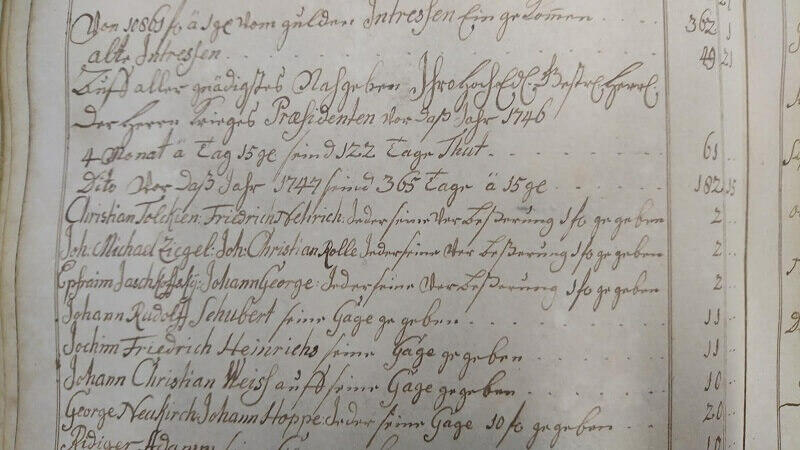 Rok 1747, prawdopodobnie widzimy tu awans Christiana Tolkiena z kanoniera na bombardiera - przypuszcza Ryszard Derdziński