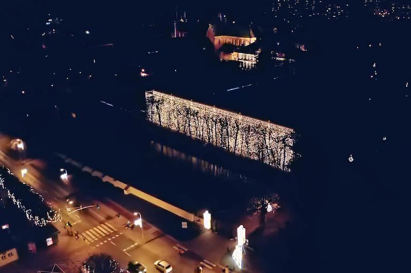 Iluminacje w Parku Oliwskim z lotu plata