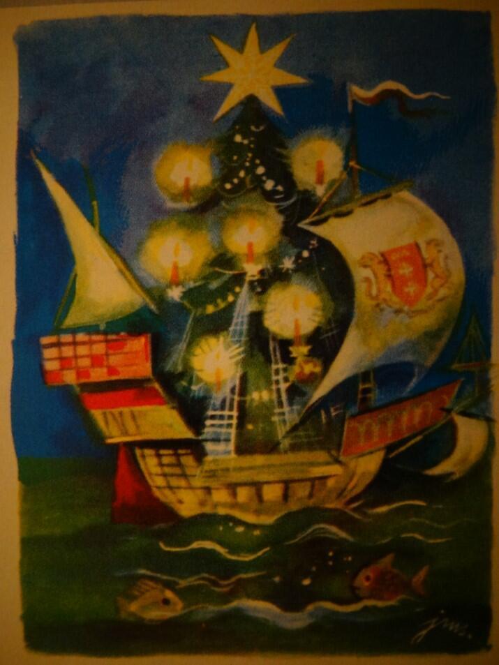 Karta świąteczna z gdańskimi motywami, której autorem jest prawdopodobnie Jan Marcin Szancer; nie wiemy, czy wykonana została przed wojną, czy po wojnie