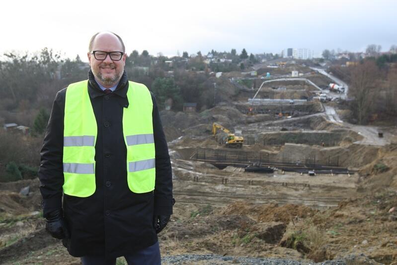 Prezydent Paweł Adamowicz na budowie Nowej Bulońskiej, 7 grudnia 2018 r.