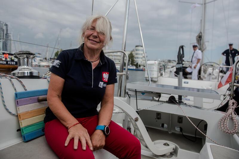 Wrzesień 2018 roku, port jachtowy w Gdyni. Joanna Pajkowska przed wypłynięciem w samotny rejs dookoła świata