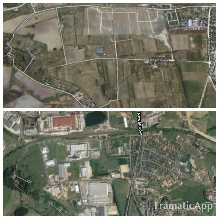 Teren Parku Przemysłowo-Technologicznego Maszynowa w roku 2011 i 2020