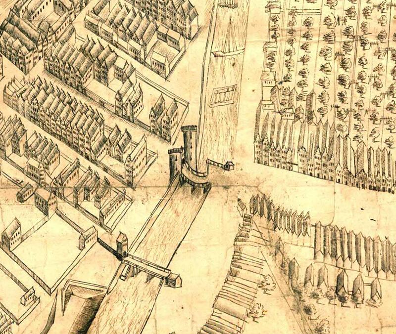 Plan Sztokholmski Gdańska z 1615 r. z przedstawianiem Mostu Stągiewnego