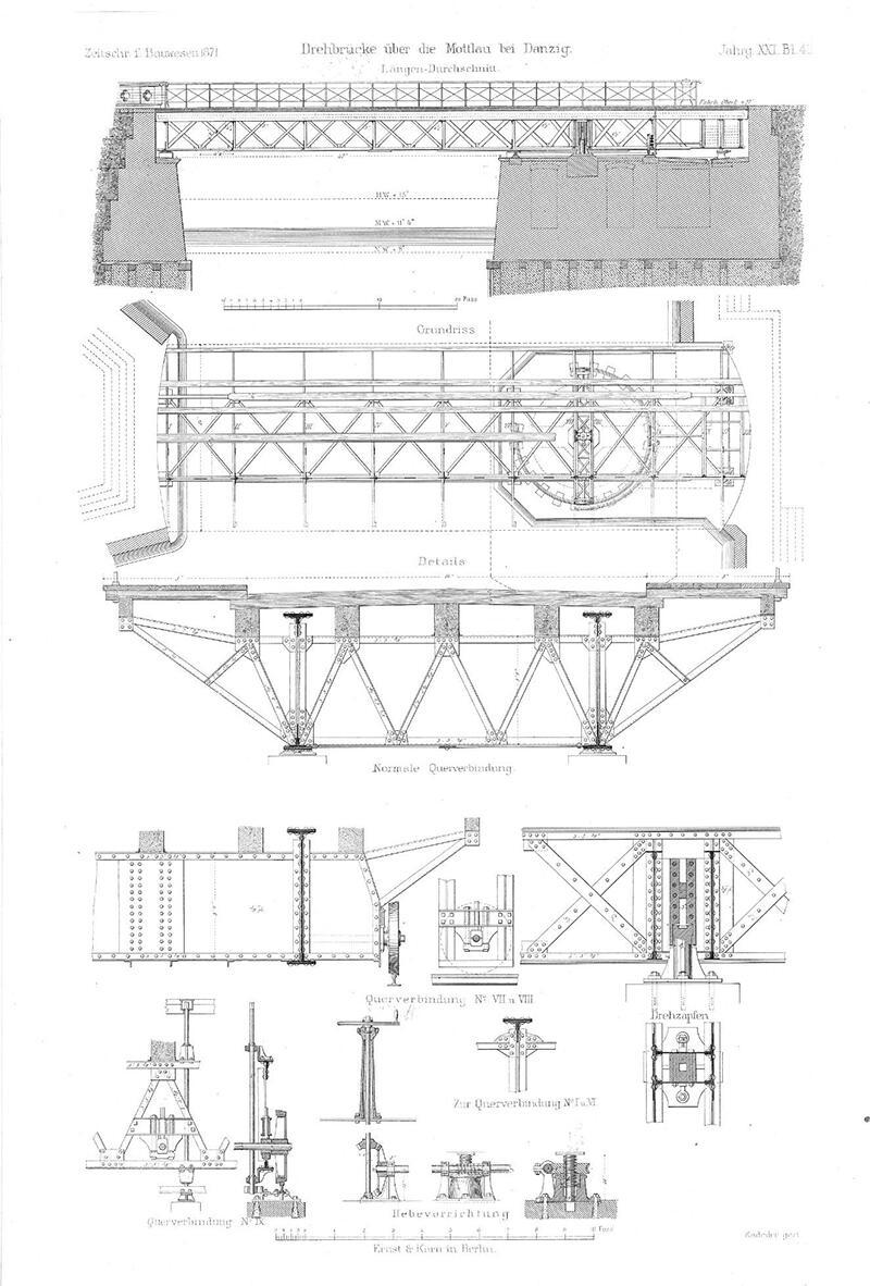 W. Schwedler, - Mittheilung über einige Drehbrücken ohne Rollkranz [w:] Zeitschrift für Bauwesen Jg. 21, H. 1-12 (1871) s. 193 –203