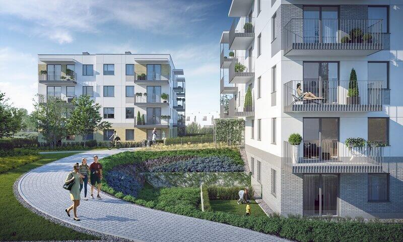 Wizualizacja jednego z ogrodów deszczowych, które będą częścią systemu retencjonowania wody opadowej na Osiedlu Zielony Południk w Gdańsku