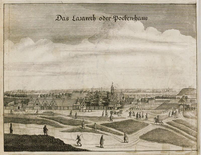Przedstawienie lazaretu przy Bramie Oliwskiej/Domu Ospy (za: R. Curicke, Der Stadt Danzig historische Beschreibung, Gdańsk/Amsterdam 1687)