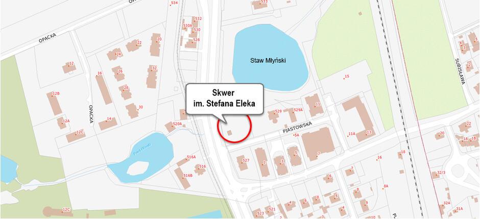 Lokalizacja skweru Eleka w Oliwie