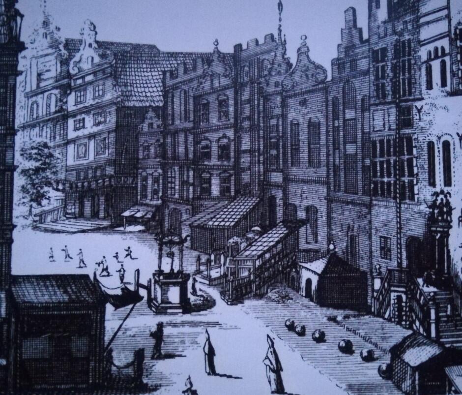 Ulica Długa, w głębi róg z Kaletniczą i dom rodziny Bartholdych; Piotr Willer, ok. 1687