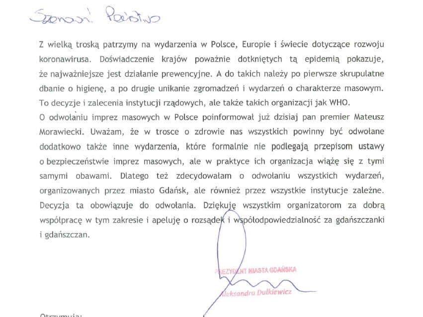 Skan zarządzenia prezydent Gdańska dot. odwołania organizacji imprez masowych oraz imprez o podobnym charakerze
