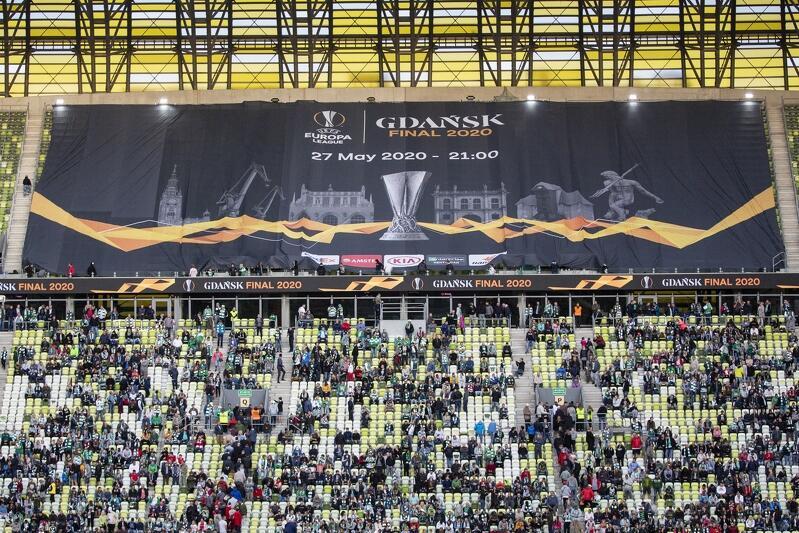 Baner finału Ligi Europy został ułożony na trybunie Stadionu Energa Gdańsk we wrześniu 2019 roku przed meczem Lechii z Lechem Poznań