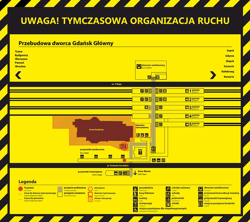 Przebudowa dworca Gdańsk Główny. Tymczasowa organizacja ruchu, mapa zmian