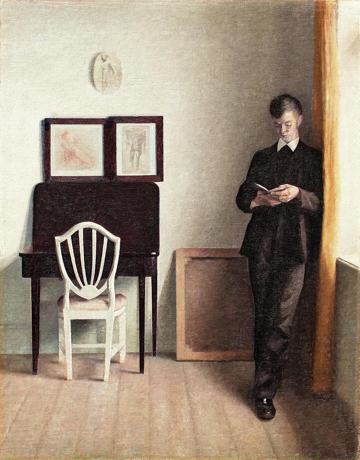 Wnętrze z młodym czytającym mężczyzną (1989 r.), autor: Vilhelm Hammershøi (The Hirschsprung Collection, Kopenhaga)
