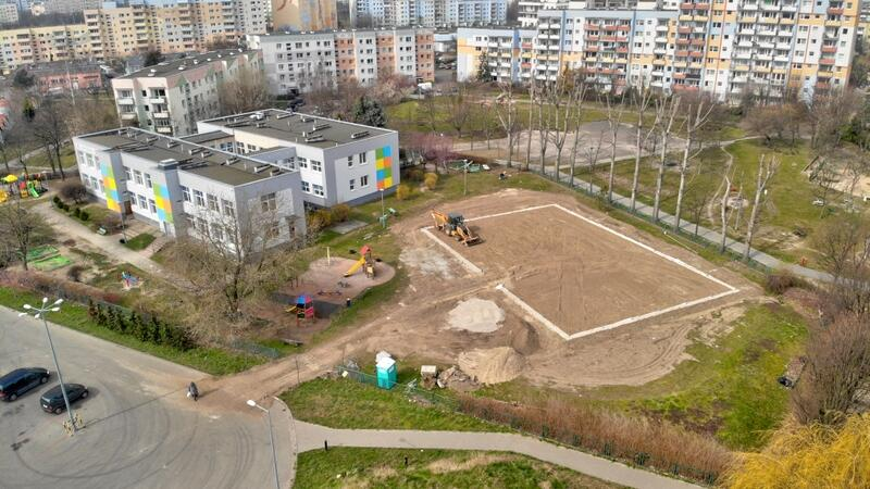 Na terenie budowy przy ul. Ciołkowskiego trwają prace.