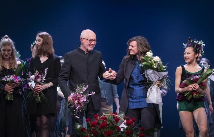 Choreograf Gray Veredon i dyrygentka Anna Duczmal-Mróz na premierze spektaklu Sen nocy letniej