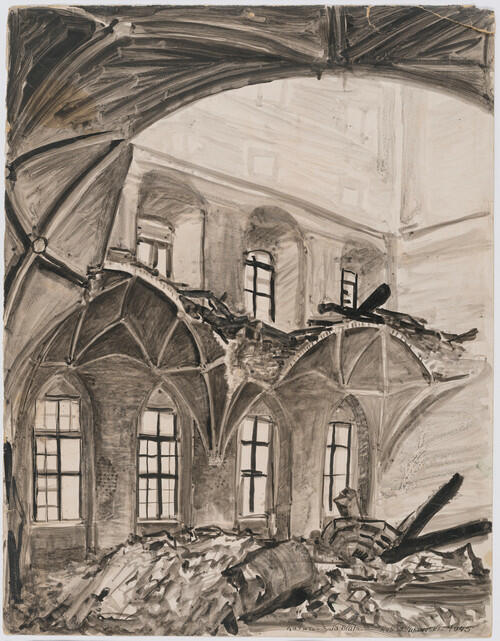 Wielka Sala Wety w 1945 roku - grafika Stanisław Żukowski