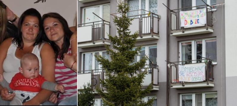 Inicjatorki akcji Pani Karolina (po lewej) i Justyna oraz ich balkony