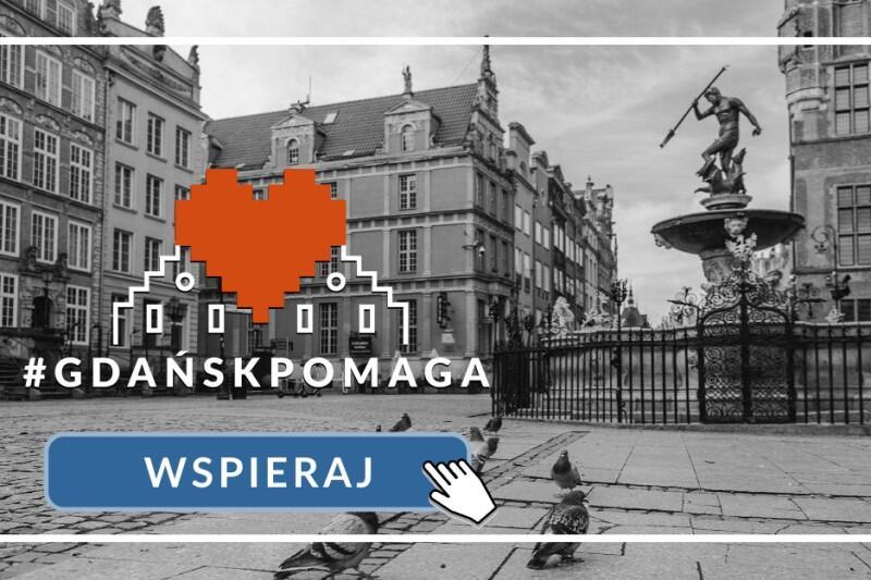 Baner promujący akcję - czerwone serce to znak, który mówi wszystko, szczególnie w Gdańsku