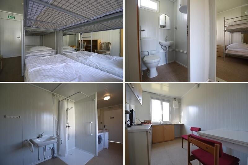 Kontenery od środka. Są tam łazienka, kuchnia, pokoje z łóżkami i biurkami, toaleta