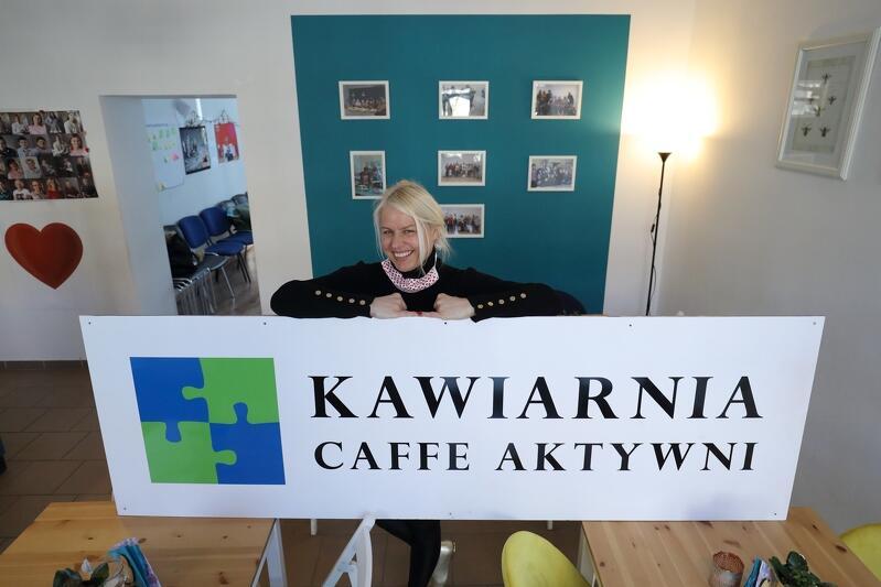 Jolanta Rychlik, założycielka przedsiębiorstwa społecznego Caffe Aktywni, które prowadzi kawiarnię o tej samej nazwie na gdańskich Siedlcach