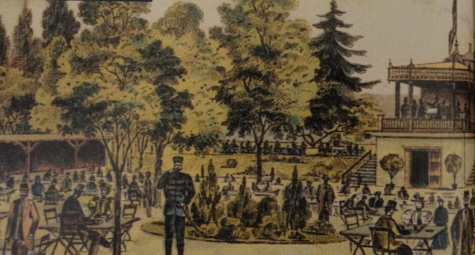 Piwiarnia w parku Kuźniczki, fragment akwareli z początku XX wieku