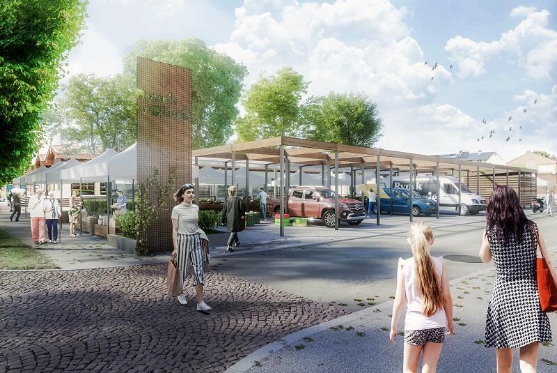 W ramach projektu `Na Rynek` targowisko w Oliwie zyska m.in. nową posadzkę i meble miejskie i atrakcyjną koncepcję działania