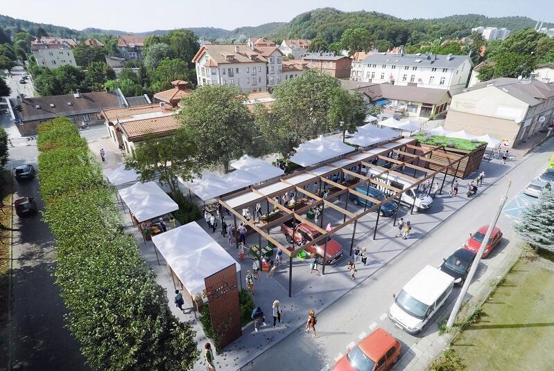 Widoczna z góry wizualizacja zmian na rynku przy ul. Polanki - tu najlepiej widać charakter placu miejskiego tej przestrzeni
