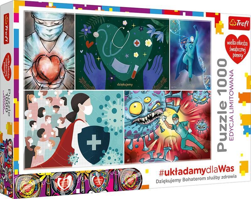 Puzzle składają się z 1000 elementów, przedstawiają kolaż prac autorskich grafików pracujących w firmie Trefl, symbolizujący walkę z koronawirusem. Po ułożeniu powstanie obrazek o wymiarach 683x480 mm