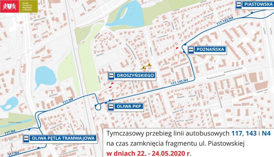 Trasa objazdu, który w ten weekend obowiązuje na Przymorzu dla dwóch dziennych i jednej nocnej linii autobusowej