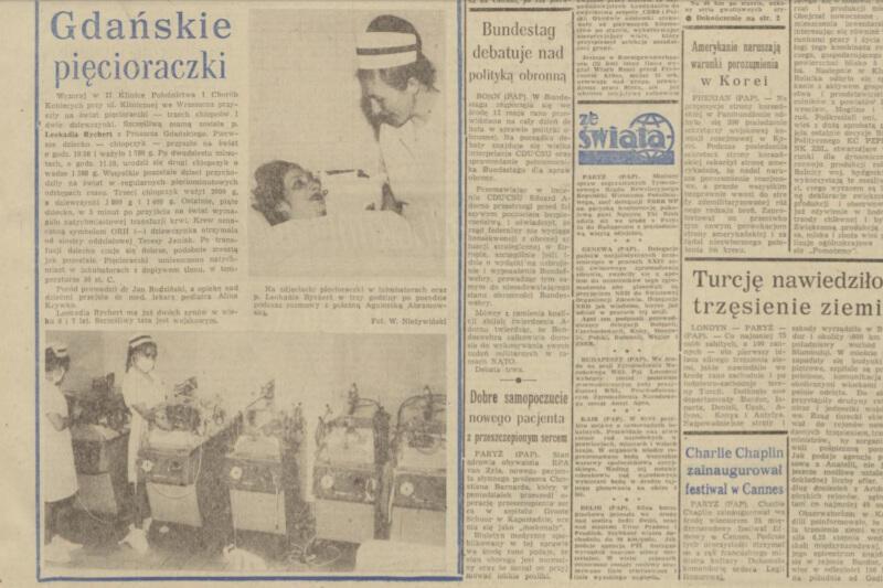 """Gdańskie pięcioraczki były takim fenomenem, że rozpisywały się o nich gazety. Tu wydanie """"Dziennika Bałtyckiego"""" z 1971 roku"""
