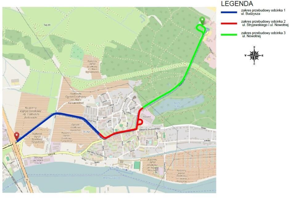 Mapka przedstawia sposób, w jaki całość prac podzielono na trzy etapy, od Przeróbki do centrum Stogów